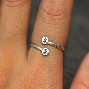 Load image into Gallery viewer, over 100 - sterling silver bind Rune ring,925 sterling silver,Energy rune,Safe Travel,good luck jewelry,courage rune,protection rune jewelry,Runic