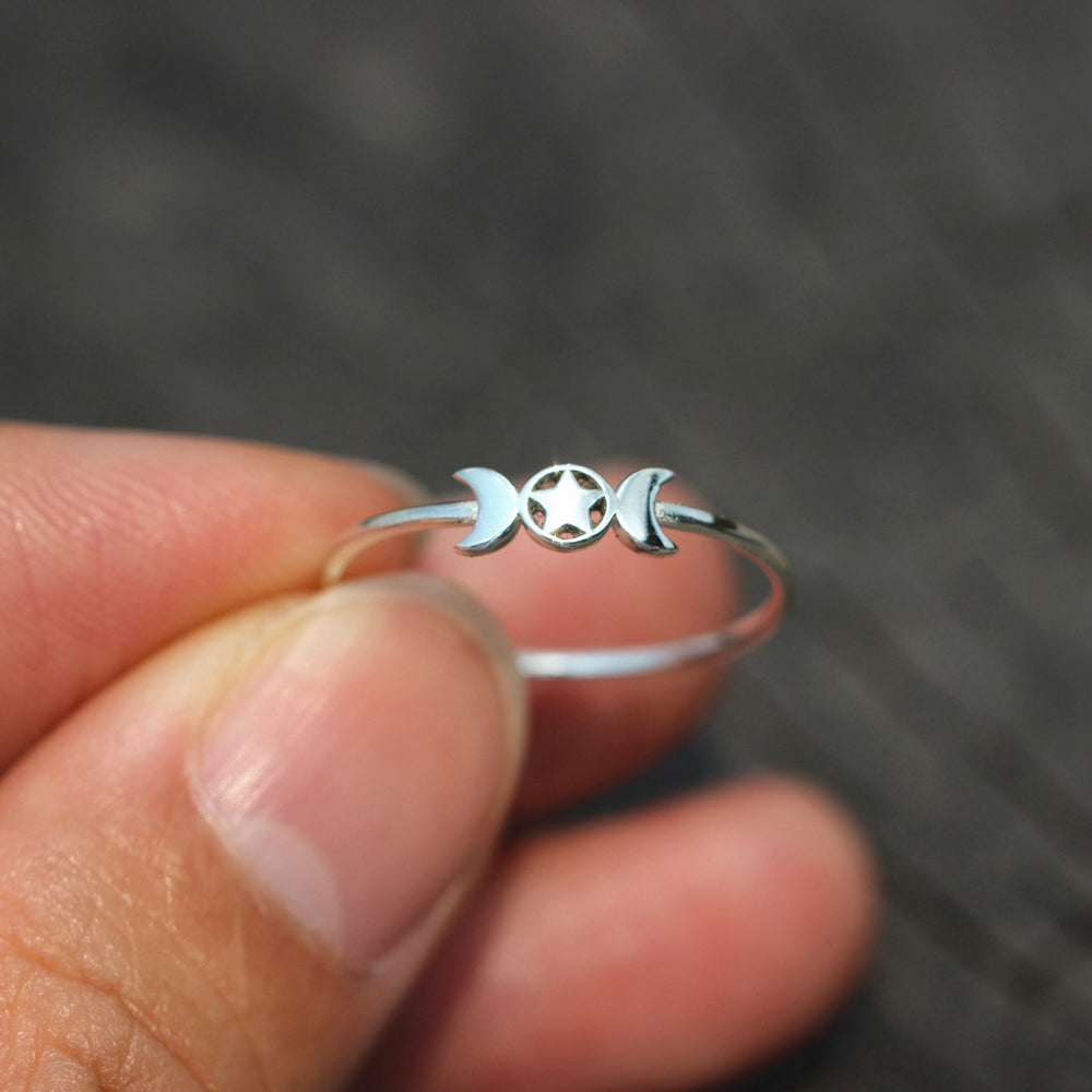 925 silver Triple Moon pentacle ring,Crescent Moon ring,Moon Goddess ring,Mythology jewelry,Stacking Ring,simple jewelry