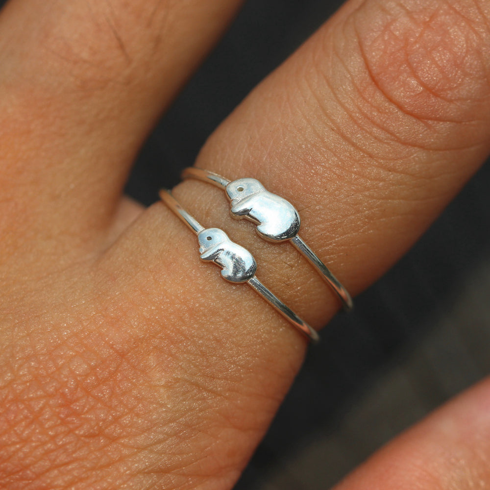 Load image into Gallery viewer, set of 2, dainty Bunny Rabbit ring,925 Sterling silver mother and daughter,he and her,you and me,Minimalist Ring,midi Ring Silver