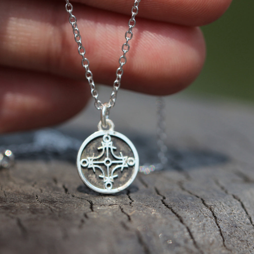925 silver Seal of the Sun charm necklace,Sun Seal necklace,Protection necklace, Solomon's seal jewelry,amulet Wicca talisman jewelry