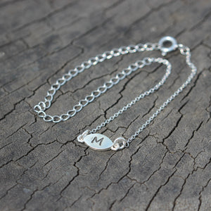 Load image into Gallery viewer, sterling silver initial bracelet for girl,Personalized Bracelet,Dainty Initial Bracelet,silver eye Bracelet,silver jewelry,Personalized Gift