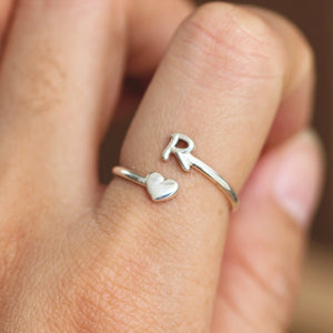 Load image into Gallery viewer, over 100 - Sterling silver initial ring,Dainty Letter ring,custom name ring,silver heart ring,love jewelry,midi ring,gift idea for her