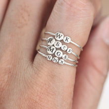 leave note - Personalized sun Ring Stacks,Custom Name Ring,Custom Initial Ring,Minimal letter ring,silver ball ring,family jewelry,Rings,gift idea