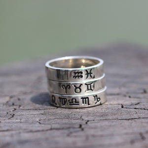 Load image into Gallery viewer, leave note - Personalized Celestial Constellation ring,family Zodiac ring,custom silver ring,Aries,Taurus,Gemini,Cancer,Leo,Virgo,Libra,Scorpio,For her