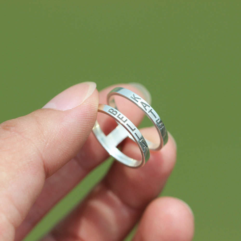 Load image into Gallery viewer, leave note - Personalized name ring,925 silver,custom word ring,initial ring,letter jeewlry,you and me ring,his and hers ring,birthday jewelry