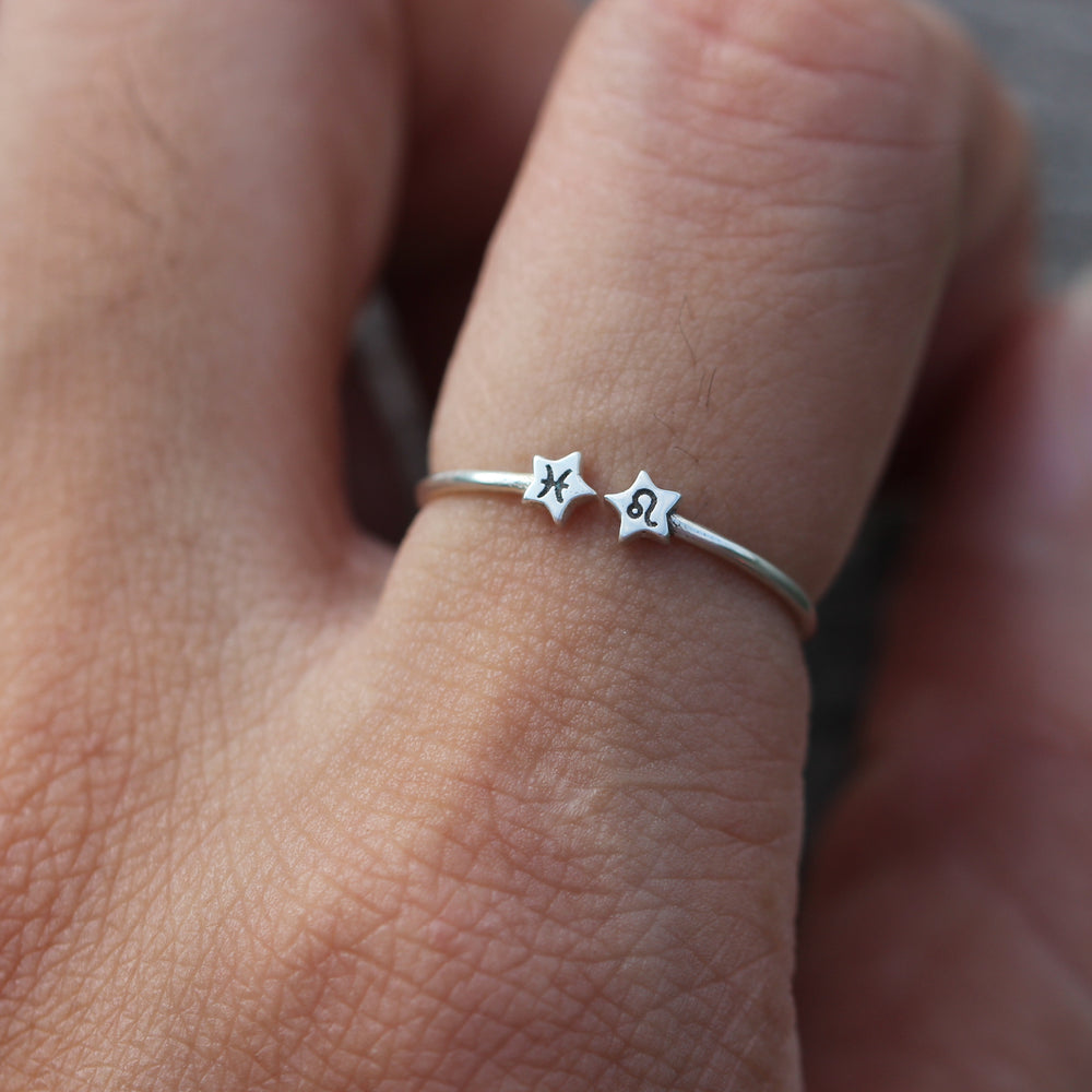 custom Zodiac ring,Personalized Zodiac ring,Sterling silver star ring,Libra ring,Scorpio ring,Sagittarius ring,Capricorn,gift for her,