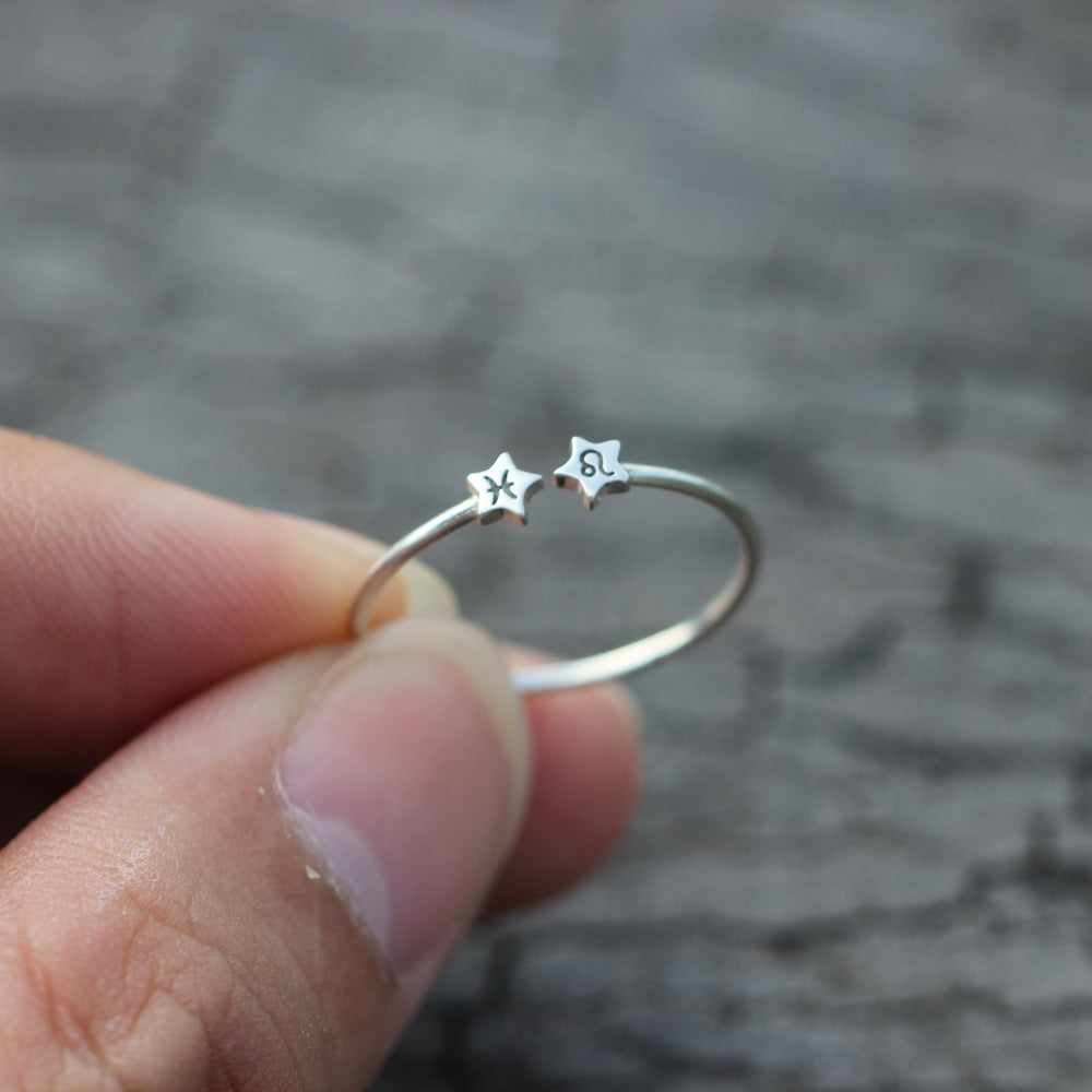 Load image into Gallery viewer, custom Zodiac ring,Personalized Zodiac ring,Sterling silver star ring,Libra ring,Scorpio ring,Sagittarius ring,Capricorn,gift for her,