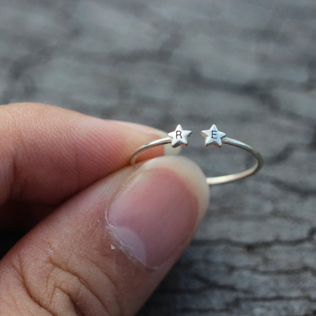 over 100 - Personalized Open double star Ring,Custom Initials Ring,His and Hers Rings,sisters Ring,bestfriend Ring,sterling silver Letter Ring