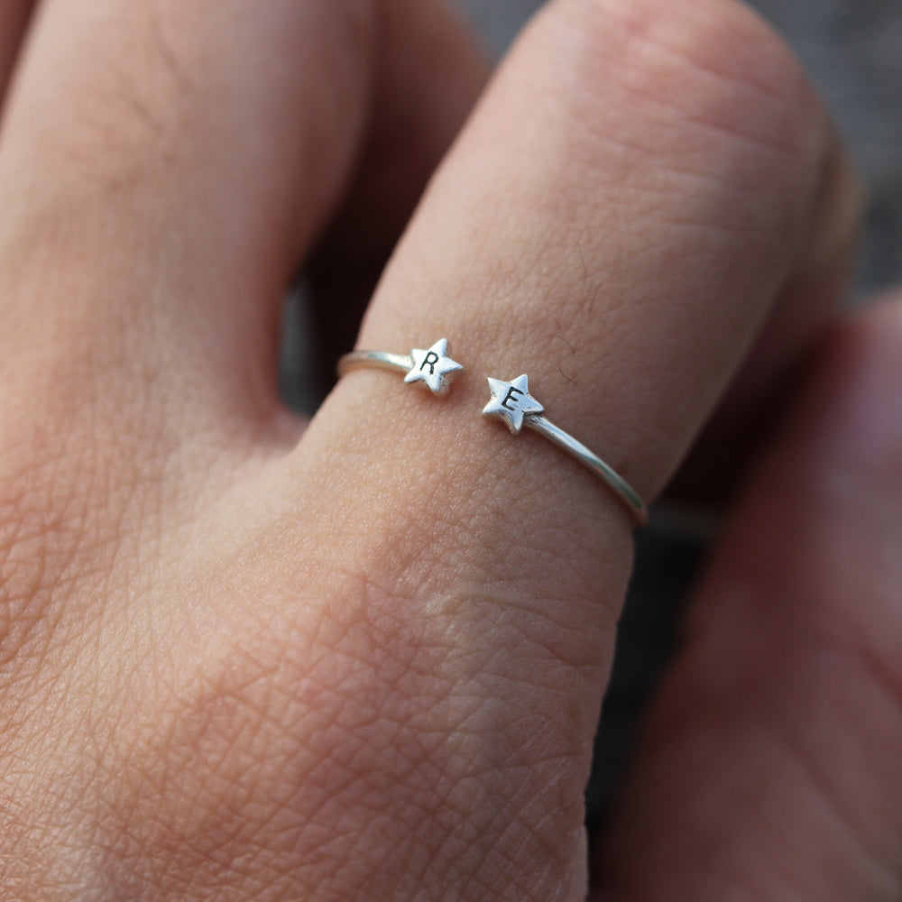 Load image into Gallery viewer, over 100 - Personalized Open double star Ring,Custom Initials Ring,His and Hers Rings,sisters Ring,bestfriend Ring,sterling silver Letter Ring