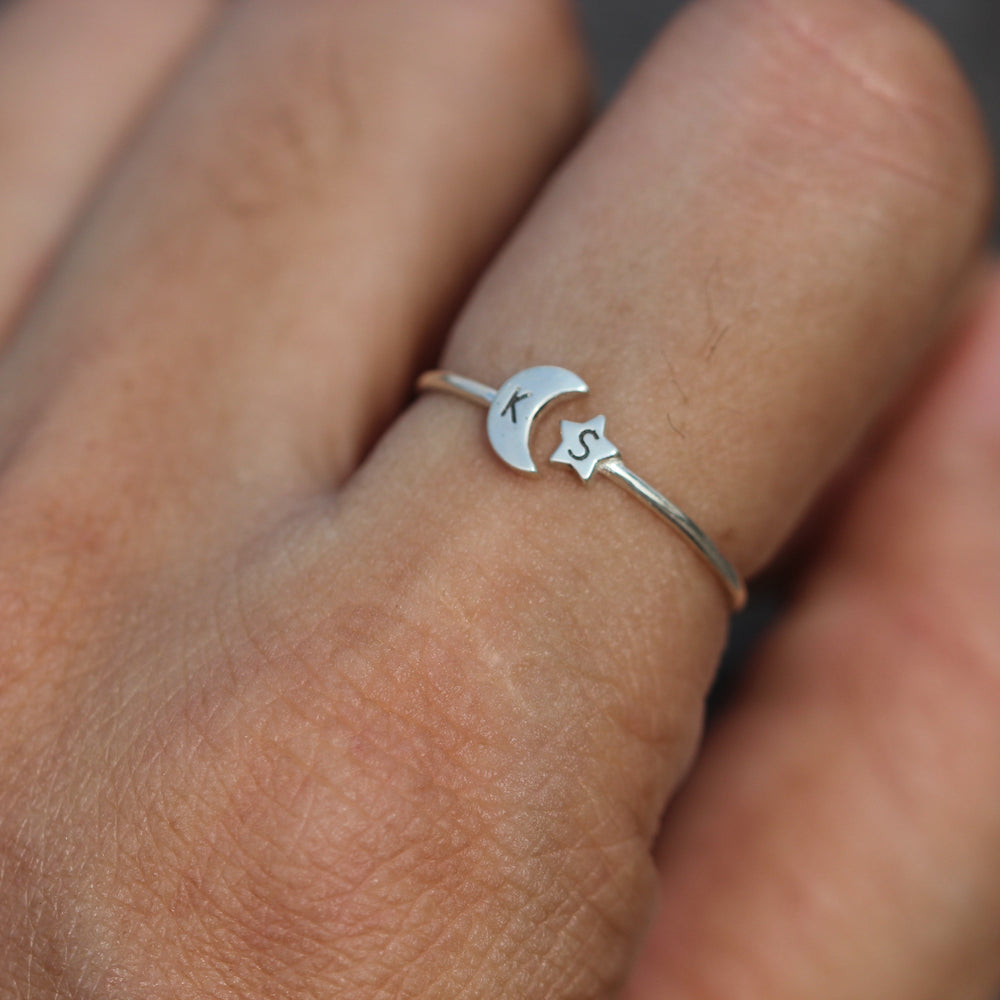 over 100 - 925 silver moon and star ring,custom initial ring,letter Ring,Personalized Ring silver,Crescent Moon Ring,celestial jewelry,midi jewelry