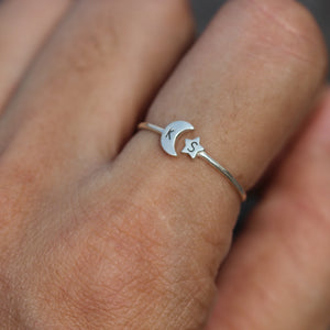 Load image into Gallery viewer, over 100 - 925 silver moon and star ring,custom initial ring,letter Ring,Personalized Ring silver,Crescent Moon Ring,celestial jewelry,midi jewelry