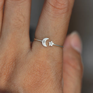 Load image into Gallery viewer, over 100 - 925 silver moon and star ring,custom number ring,Numeral Ring,Personalized Ring silver,Crescent Moon Ring,celestial jewelry,midi jewelry