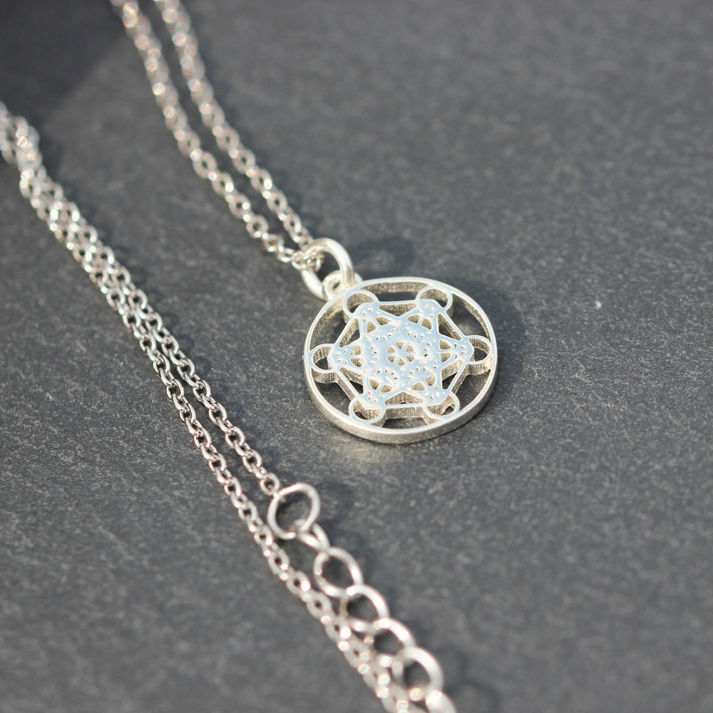 Load image into Gallery viewer, metatrons cube necklace,solid 925 sterling silver Sacred Geometry necklace,Seed of Life necklace,Mandala necklace,Angel Talisman Jewelry