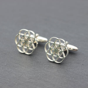 Load image into Gallery viewer, solid 925 silver Geometric Circle cufflinks,Seed of life cufflinks,Geometry Flower of Life cufflinks,silver cufflinks,wedding cufflinks