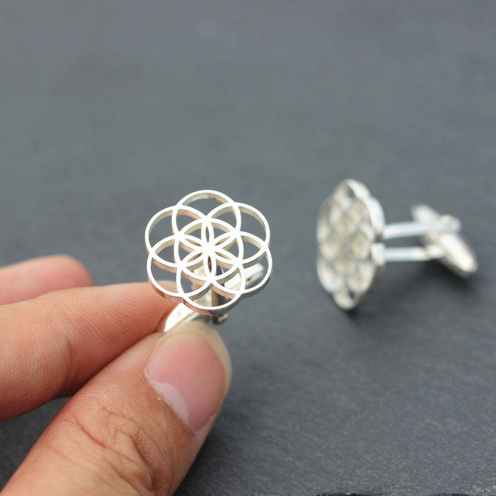 solid 925 silver Geometric Circle cufflinks,Seed of life cufflinks,Geometry Flower of Life cufflinks,silver cufflinks,wedding cufflinks