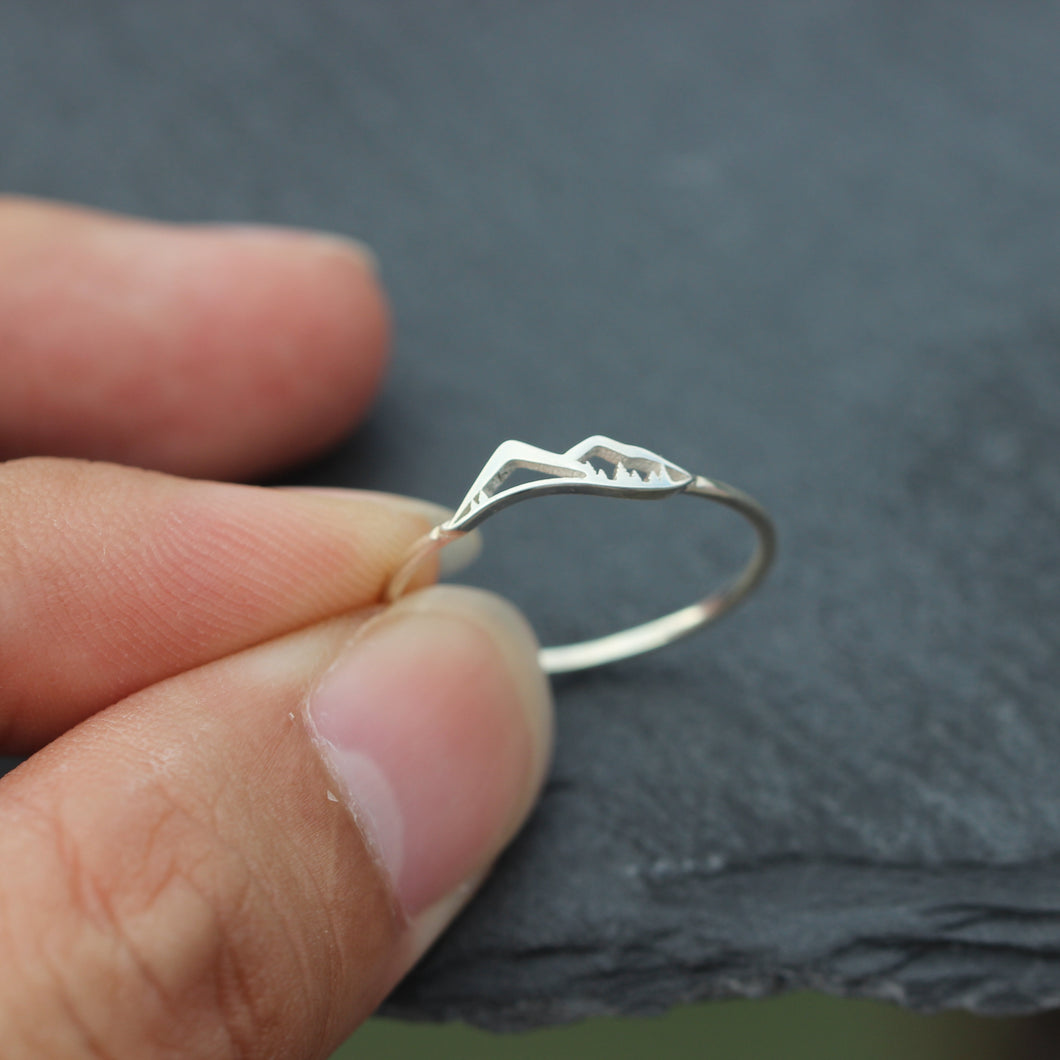 the mountain ring,midi silver ring,Mountain Jewelry,solid 925 silver jewelry
