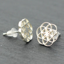 solid 925 silver Geometric Circle stud earrings,Seed of life earrings,Geometry Flower of Life earrings,silver earrings,wedding jewelry