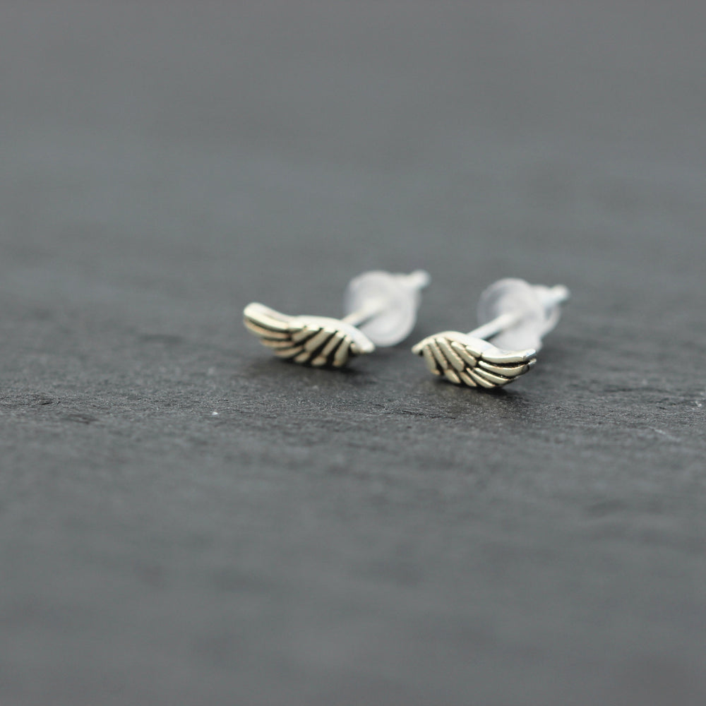 solid 925 sterling silver angle wing stud earring,silver tiny wing earrings,midi wing jewelry,smalll silver earrings