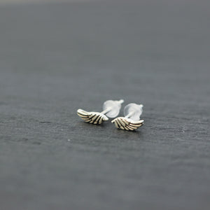 Load image into Gallery viewer, solid 925 sterling silver angle wing stud earring,silver tiny wing earrings,midi wing jewelry,smalll silver earrings