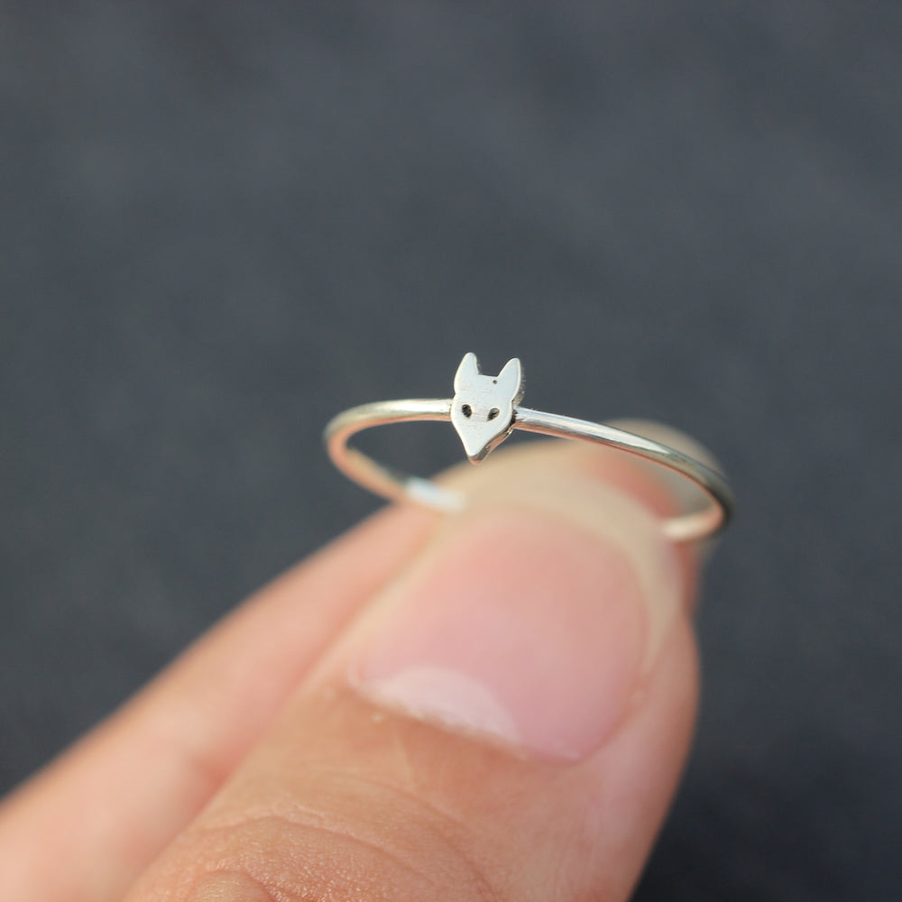 Load image into Gallery viewer, solid 925 silver fox face ring,fox ring,fox jewelry,dainty silver ring,Minimalist ring,dainty jewelry