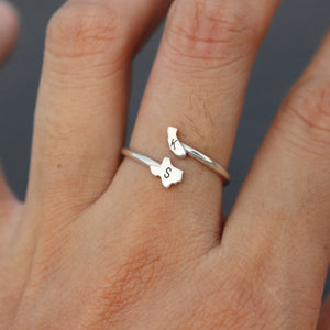 Load image into Gallery viewer, leave note - custom USA state ring,925 silver initial ring,Long Distance Relationship Ring,Personalized Gift,you and me jewelry,bestfriend jewelry