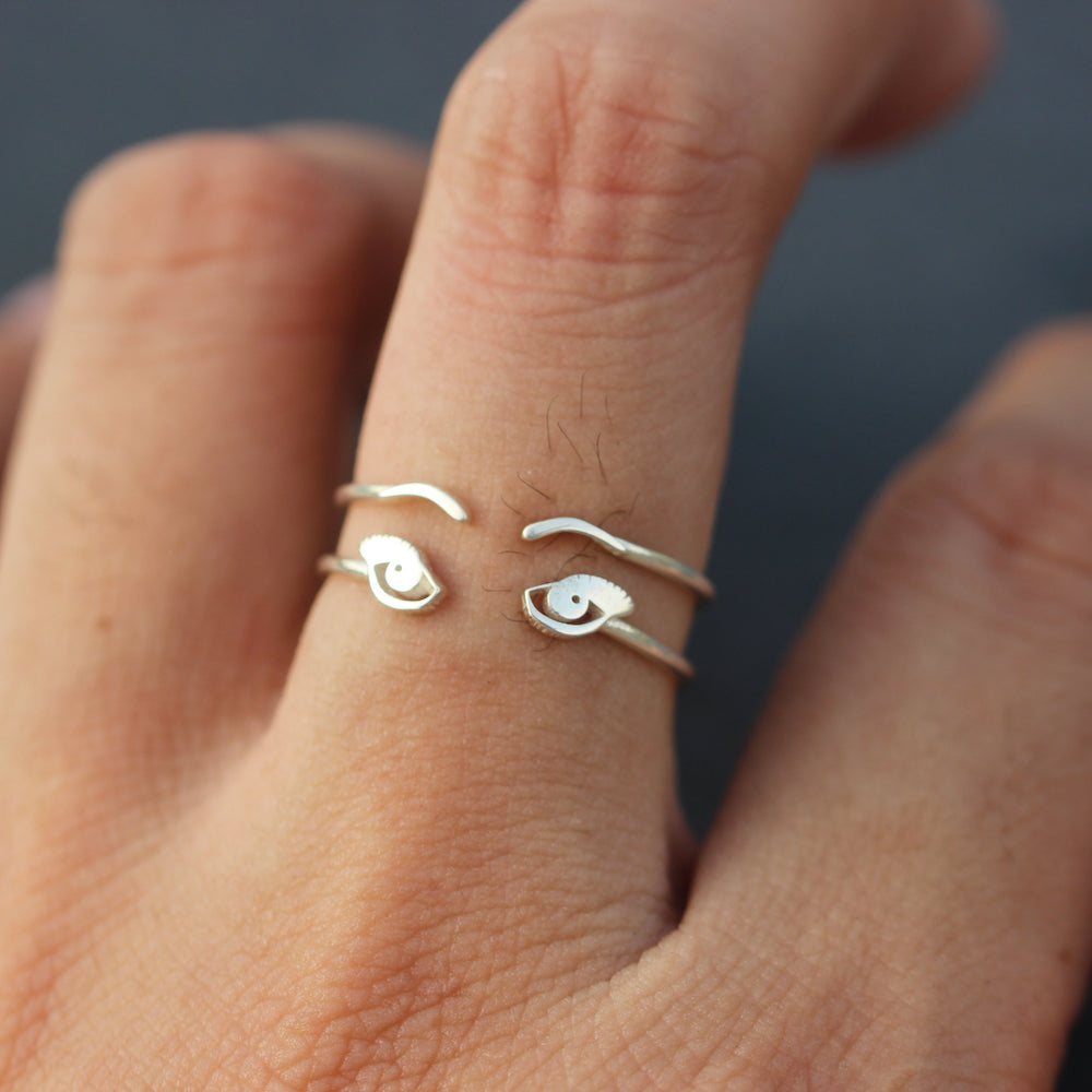set of 2,eye lashes ring,eye ring,Blink eye ring,Sleepy Eyes ring,Eyelashes ring,Eyebrows  ring,solid 925 silver ring,Minimalist jewelry