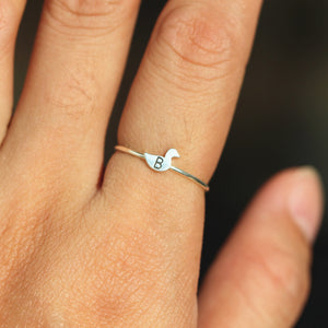 Load image into Gallery viewer, over 100 - Personalized duck Ring,Custom Initials Ring,animal lover Ring,Tiny silver ring,Sterling silver Ring,Thin silver ring,1MM RING
