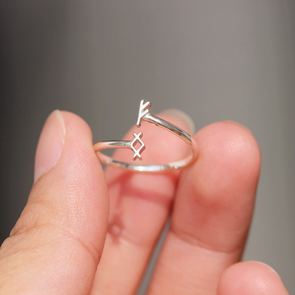 Load image into Gallery viewer, over 100 - Personalized silver Rune ring,Custom Rune ring,protection rune jewelry,Fehu rune necklace,Berkano,Odal Rune,Elder Futhark,Norse Viking