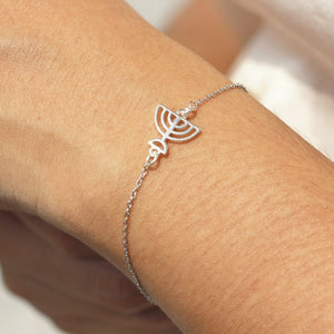Load image into Gallery viewer, Jewish Menorah bracelet,solid 925 siver Lamp bracelet,Lamp jewelry,star bracelet silver,Menorah jewelry,sunshine jewelry,gift idea