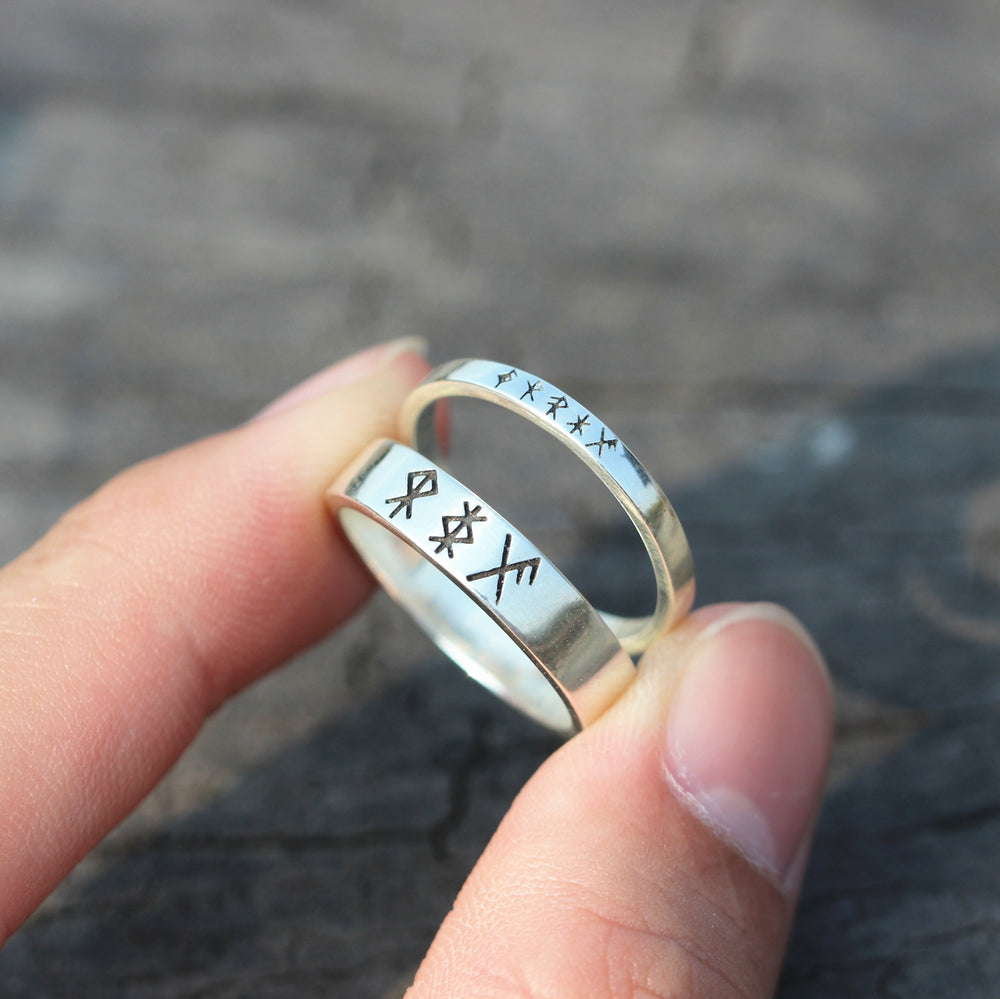 Load image into Gallery viewer, leave note - Custom bind Rune ring,solid 925 silver band ring,Personalized runes jewelry,RING,Energy rune,Safe Travel,good luck jewelry,courage rune