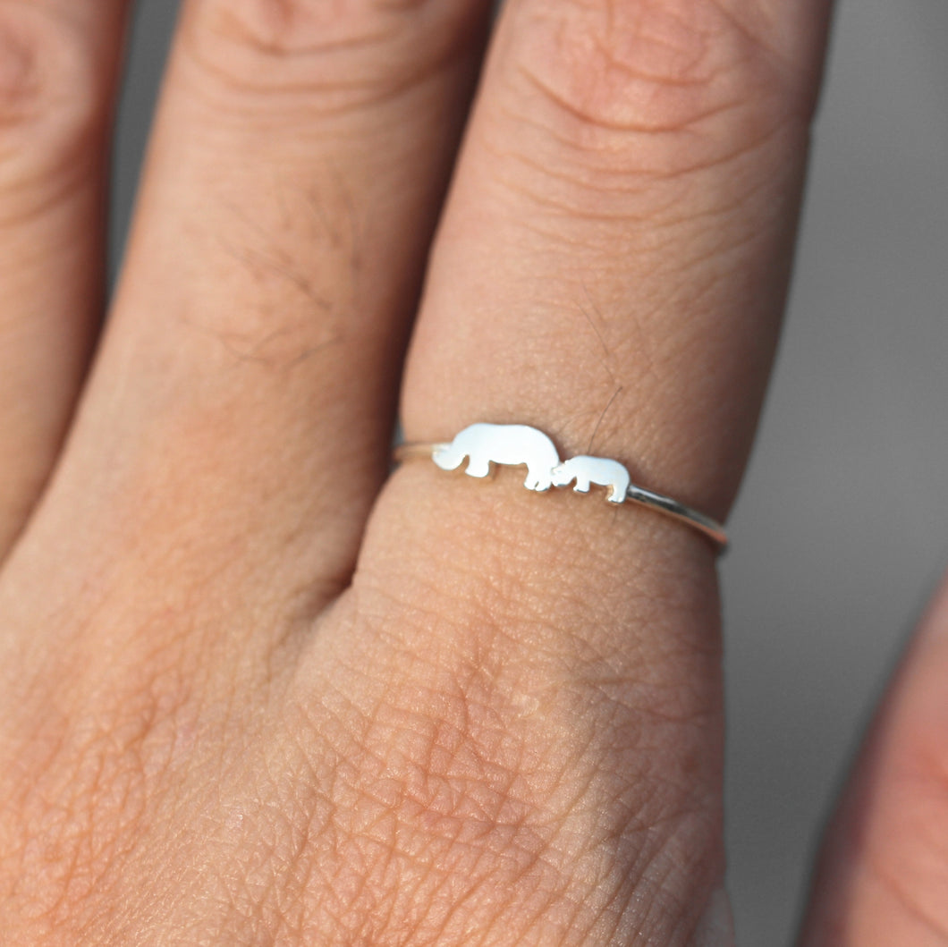 solid 925 silver custom family rhinoceros ring,Rhino ring,midi silver jewelry,Animal lover ring,Rhinoceros jewelry
