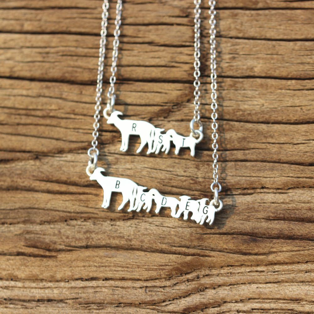 leave note - 925 sterling silver Goats necklace,silver Goats jewelry,animal jewelry,custom name necklace,family initial jewelry,Minimal Jewelry