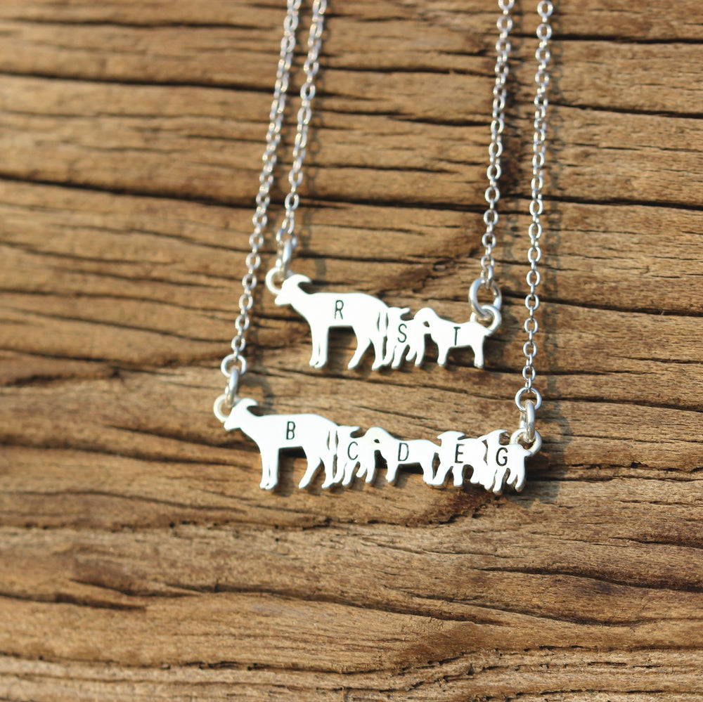 Load image into Gallery viewer, leave note - 925 sterling silver Goats necklace,silver Goats jewelry,animal jewelry,custom name necklace,family initial jewelry,Minimal Jewelry