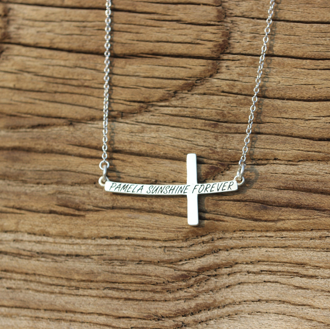 sterling silver Cross necklace,custom name necklace,silver Personalized word Necklace,silver cross necklace,Family initials necklace