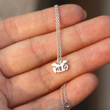 leave note - solid 925 silver family rabbit necklace,Custom initial necklace,custom zodiac necklace,Personalized rabbit necklace,bunny necklace