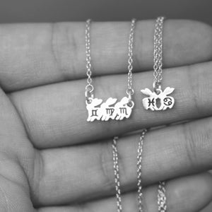 Load image into Gallery viewer, leave note - solid 925 silver family rabbit necklace,Custom initial necklace,custom zodiac necklace,Personalized rabbit necklace,bunny necklace
