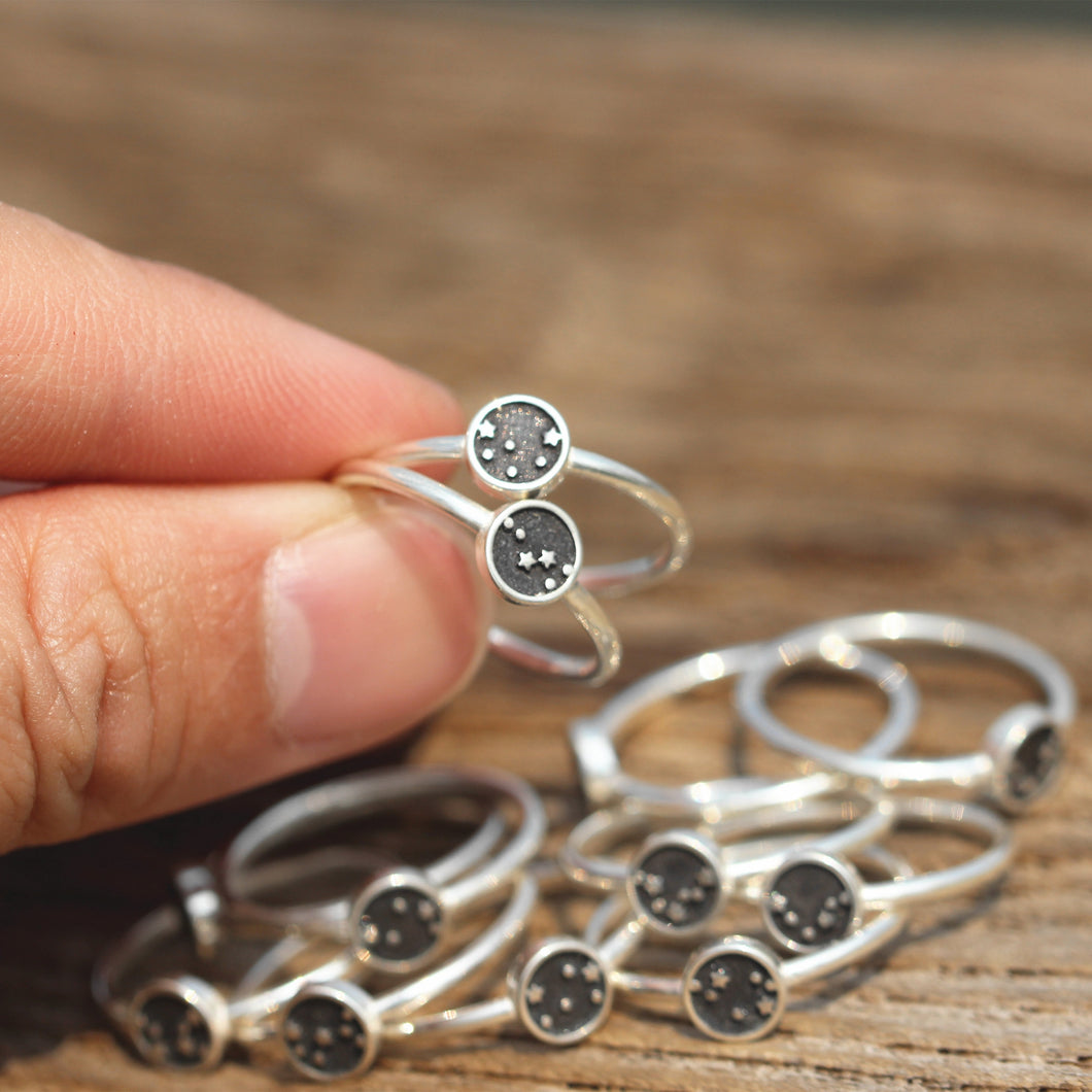 Zodiac ring,Personalized silver ring,custom dainty ring,Celestial Horoscope Constellation Jewelry