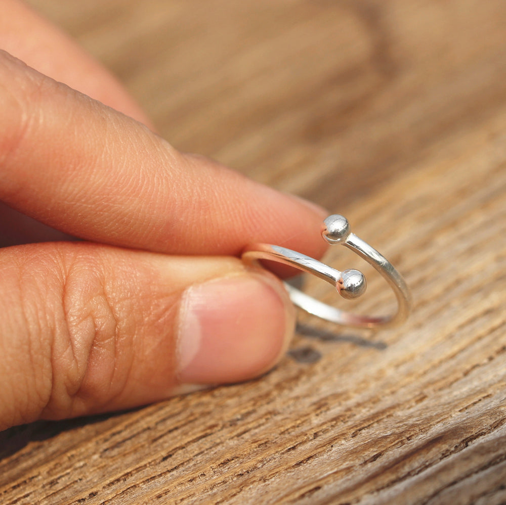 925 silver open ball ring,dainty silver ring