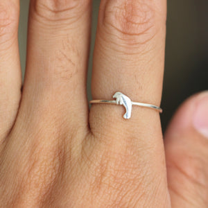 Load image into Gallery viewer, Solid 925 sterling silver Manatee Ring,Sea Cow ring,Sea Life jewelry,Minimal Animal jewelry,summer jewelry