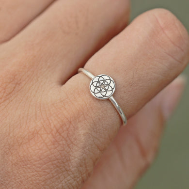 solid 925 sterling silver Flower Of Life ring,Seed of Life jewelry,Geometry ring,Geometry jewelry,Yoga Jewelry