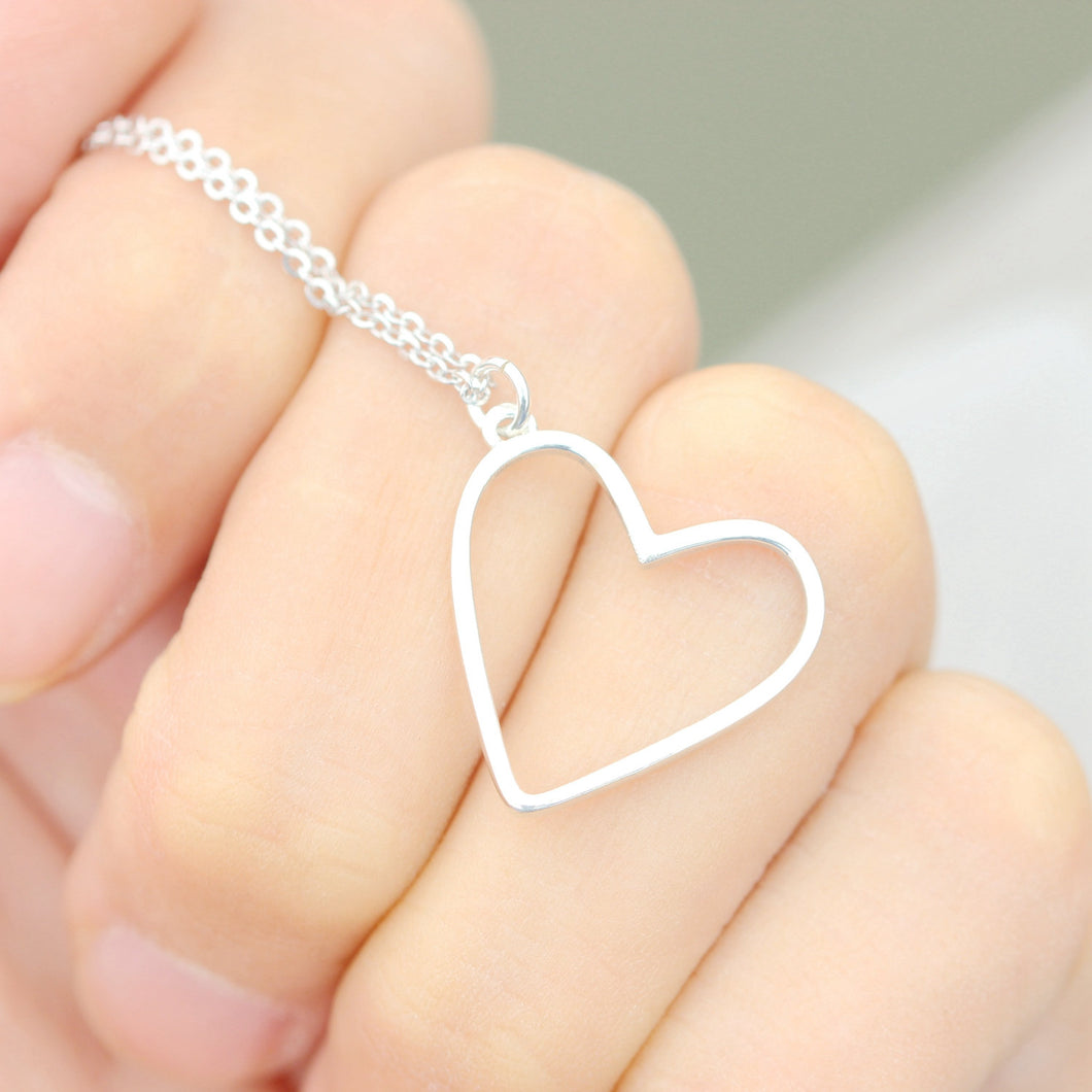 love heart charm necklace in sterling silver