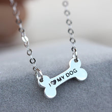 Tiny Silver Dog Bone Necklace Pet lover jewelry I love my dog