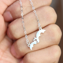 Bat Necklace - silver bat Pendant - Sterling Silver Jewelry - Personalized Pet Jewelry - Animal Charm Pet