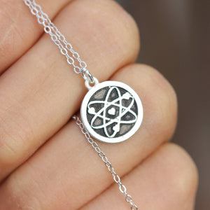 Load image into Gallery viewer, science symbol necklace,sterling silver necklace,Be Like a Proton -Stay Positive Science,Think like a proton stay positive ,funny necklace