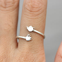 Tea Please jewelry,Tea Please ring,sterling silver cup and Teapot ring,TEA LOVER Yes Please Teapot Tea Love
