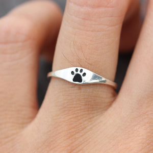 Load image into Gallery viewer, Paw Print Ring - Sterling Silver Paw Print Ring - Tiny Pawprint Ring - Cat Dog Lovers Jewelry Pet Memorial Ring Pet Jewelry