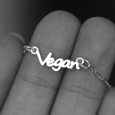 Vegan necklace Sterling Silver V Vegan and Vegetarian V Vegan Friendly necklace Vegan Jewelry
