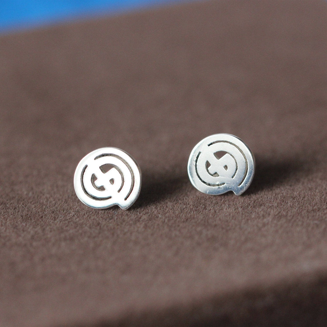 Sterling silver earrings God Symbol jewelry monogram G,O,D