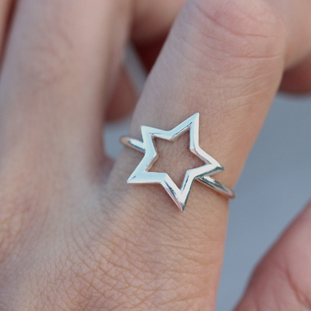 Star Ring, Sterling Silver Ring, Star jewelry, Dainty Ring, Silver Midi Ring, Celestial Ring, Best Friend Christmas Gift