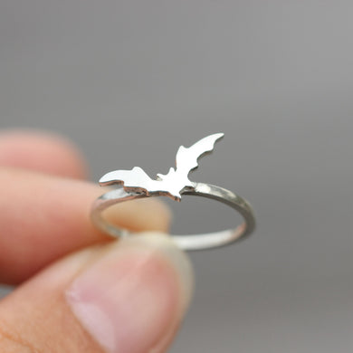 Bat Ring - silver bat Ring - Sterling Silver Jewelry - Personalized Pet Jewelry - Animal Charm Pet